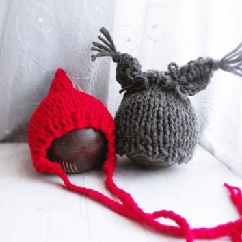 Newborn Photo Props for Twins / Red Riding and Wolf Hats / Newborn Girl, Newborn Boy
