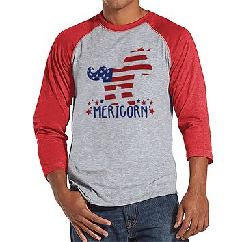 Men's 4th of July Shirt - Funny Mericorn Red Raglan - American Flag Unicorn 4th of July Party Shirt - Funny Patriotic Independence Day