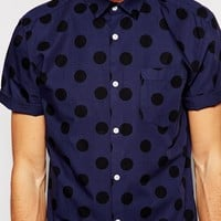 River Island Short Sleeve Shirt with Spotted Print at asos.com