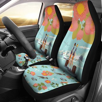 Floral Flight Attendant Car Seat Covers