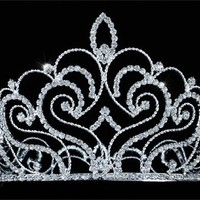 """Vintage Style Pageant Tall 4.75"""" Tiara Full Circle Round Crystal Crown"""