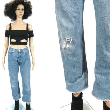 """Vtg LEVI'S 501 Button Fly Jeans / Cut Off Levi's Strauss Medium Wash Denim / Slim Relaxed Fit Frayed Leg / 29"""" Waist 80s Red Tab Distressed"""