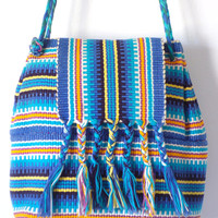 Ethnic Striped Hippie Bucket Bag Crossbody Purse Backpack Tassles