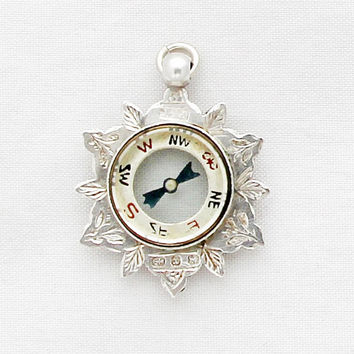 Victorian Compass Charm / Antique British Compass Star