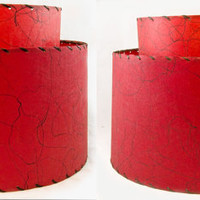 Set of Red Fiberglass Lampshades - Double Tier Vintage Lamp Shades - Retro, Mid Century 1950s
