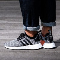 Best Online Sale Adidas NMD R2 PK Core Black / Footwear White Boost Sport Running Shoes Classic Casual Shoes Sneakers