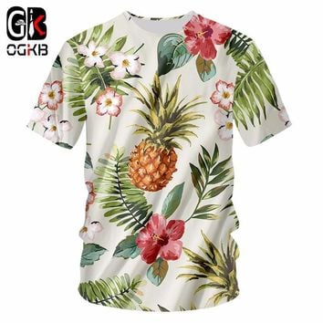OGKB New Dropship Funny Full Printing Pineapple Flower 3d Tshirt For Men/women's Casual T-shirt Homme Punk O Neck Tee Shirts 7XL