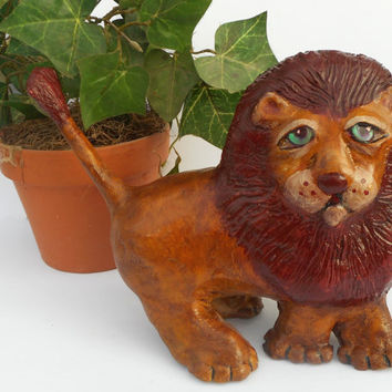 Paper Mache Clay Lion Sculpture - Leon the Lion