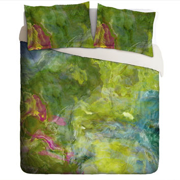 Duvet Cover with abstract art, king or queen in green, aqua and blue, Garden Party