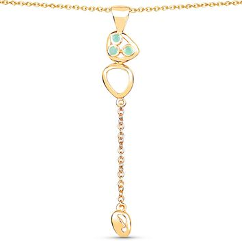 LoveHuang 0.08 Carats Genuine Emerald Golden Egg Pendant Solid .925 Sterling Silver With 18KT Yellow Gold Plating, 18Inch Chain