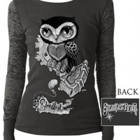 """Women's """"Owl with Bookmark"""" Long Sleeve Tee by Steadfast Brand (Charcoal)"""