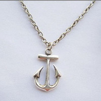 ancient vintage style silvery anchor pendant women by braceletcool
