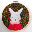 White Bunny Felt Wall Art in Embroidery Hoop