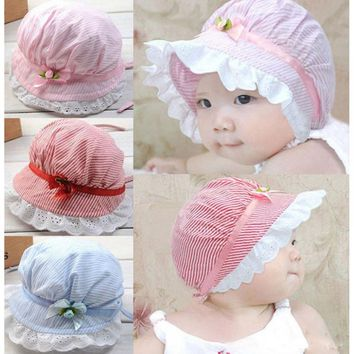 Stylish Cozy  3-10 Months Summer Cotton Baby Girls Lace Flower Sun Bucket Hat