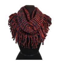 """Always My Style"" Tassel Fringe Splash of Rust Infinity Scarf"