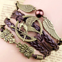 Harry potter and the hunger games of perfect combination of bracelets owl bracelet, whistleblowers bracelet, one of the best Christmas gift
