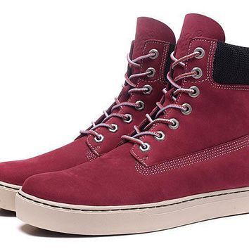 PEAPON Timberland Rhubarb Boots 6867R Wine Red Waterproof Martin Boots