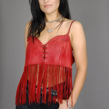 Cherry Red Buttery Soft Fringe Leather Top