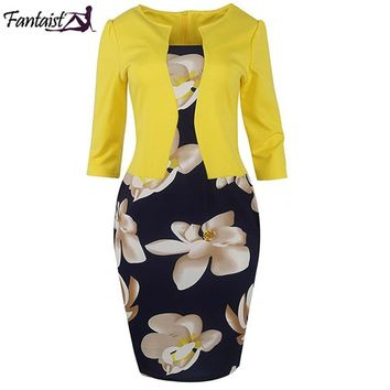 Fantaist Women Fall One Piece Patchwork Floral Print Elegant Business Party Formal Office Plus Size Bodycon Pencil Work Dresses