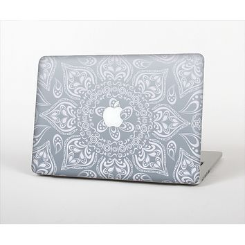 "The Intricate White and Gray Vector Pattern Skin Set for the Apple MacBook Pro 15"" with Retina Display"