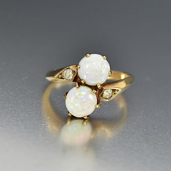 Antique Gold Diamond Toi et Moi Opal Engagement Ring