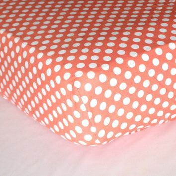 Fitted Crib Sheets   White Polka Dots on Coral
