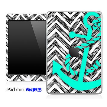 Sketched White Chevron and Trendy Green Anchor Skin for the iPad Mini or Other iPad Versions
