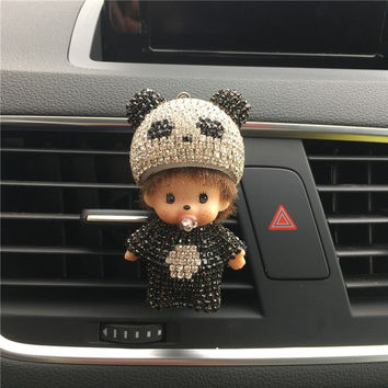 Panda Meng Qiqi automobile Outlet perfume clip Diamond Air conditioner mouth clamp Upscale cute Car perfume fragrance