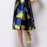 Navy Blue Floral Printed Midi Skirt