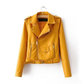 Trendy Winter Jacket Soft Pu Leather  Women Slim Coat turn-down collar Motorcycle Coat Short Biker  Female Zipper Outerwear  AT_92_12