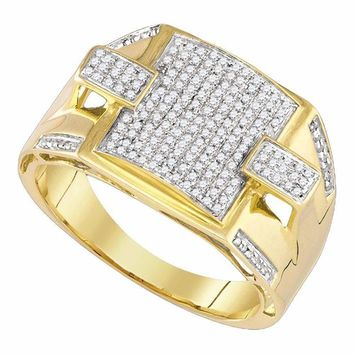 10kt Yellow Gold Men's Round Pave-set Diamond Square Cluster Ring 3/8 Cttw - FREE Shipping (US/CAN)