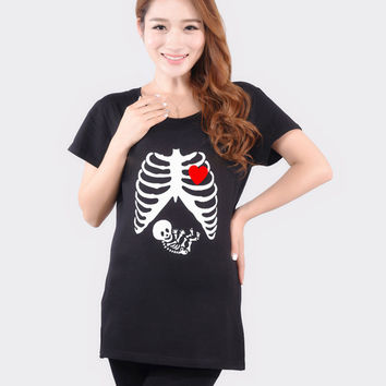 Hot Fashion Maternity Funny Skull T Shirts Plus Size Red Cotton Tops Tees Clothes For Pregnant Women Pregnancy Wear Clothing NEW