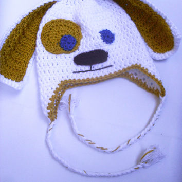 Newborn Crochet Puppy Hat-boys girls crochet puppy hat,photo prop baby shower gift-sizes newborn,0-3 mo,3-6mo,6-12 mo,12-24 mo READY TO SHIP