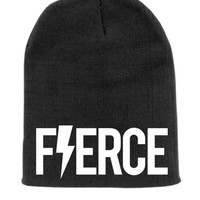 Black FIERCE Beanie Slouchy Knit Hat