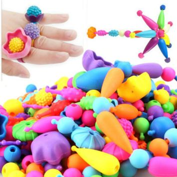 100pcs/set New Pop Beads Toys Snap Together Jewelry Fashion Kit DIY Educational Kids Craft Gifts For Girl reborn toy free