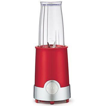BELLA Personal Size Rocket Blender, 12 piece set, color red and chrome, single-serve
