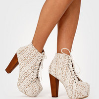 Ivory Lace Platform Lita Boots | Shop Jeffrey Campbell Lita Shoes Now | fredflare.com