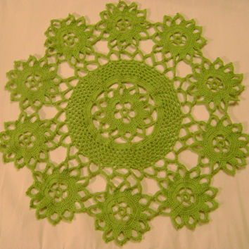Green crochet table placemat centerpiece tablecloth large coaster handmade