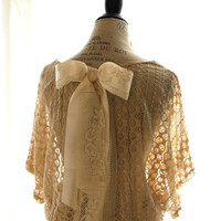 Bow Lace Open Back shirt Paris runway Shabby chic Romantic cottage chic Gypsy rose Ecru lace top Funky Sheer Shirt