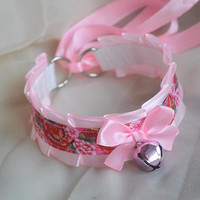Kittenplay collar - Royal garden - bell pink red ddlg daddy kink princess cute neko girl lolita petplay kitten play choker nekollars