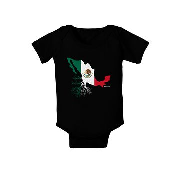 Mexican Roots - Mexico Outline Mexican Flag Baby Bodysuit Dark by TooLoud