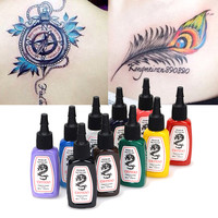 10 Colors/Bottles Tattoo Ink Pigment Set Kits for Body Art Tattoo 15ml 1/2 OZ Professinal Beauty Makeup Tattoo Inks ship