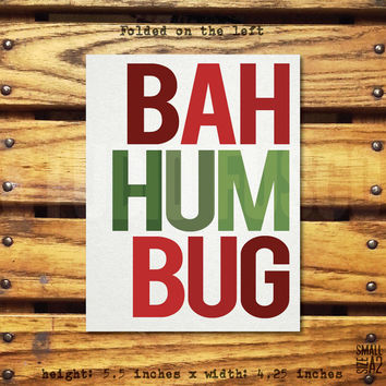 BAH HUM BUG - Holiday Greeting Card - Christmas Card - Charles Dickens Card - Christmas Carol Card - Funny Card - Custom Card