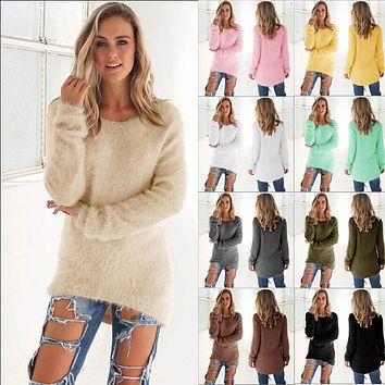 Fuzzy Solid Color Long Sleeve Warm Winter Pullover Sweater - 10 COLORS!