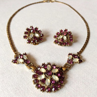 Vintage Crystal Necklace and Matching Clip On Earrings