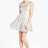Hailey Logan Back Cutout Metallic Skater Dress (Juniors) | Nordstrom