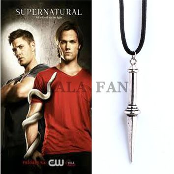Supernatural Angle Castiel Knife Leather Pendant Necklace  XL382