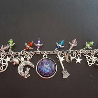 Wiccan magic inspired charm bracelet