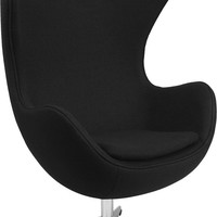 Black Wool Fabric Egg Chair