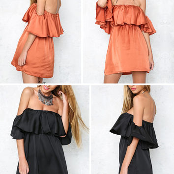 ♡ Satin Ruffle off shoulder summer dress ♡
